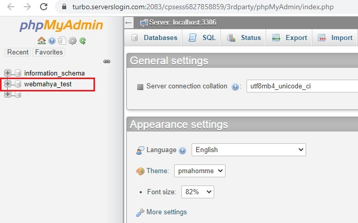 select-database-phpmyadmin